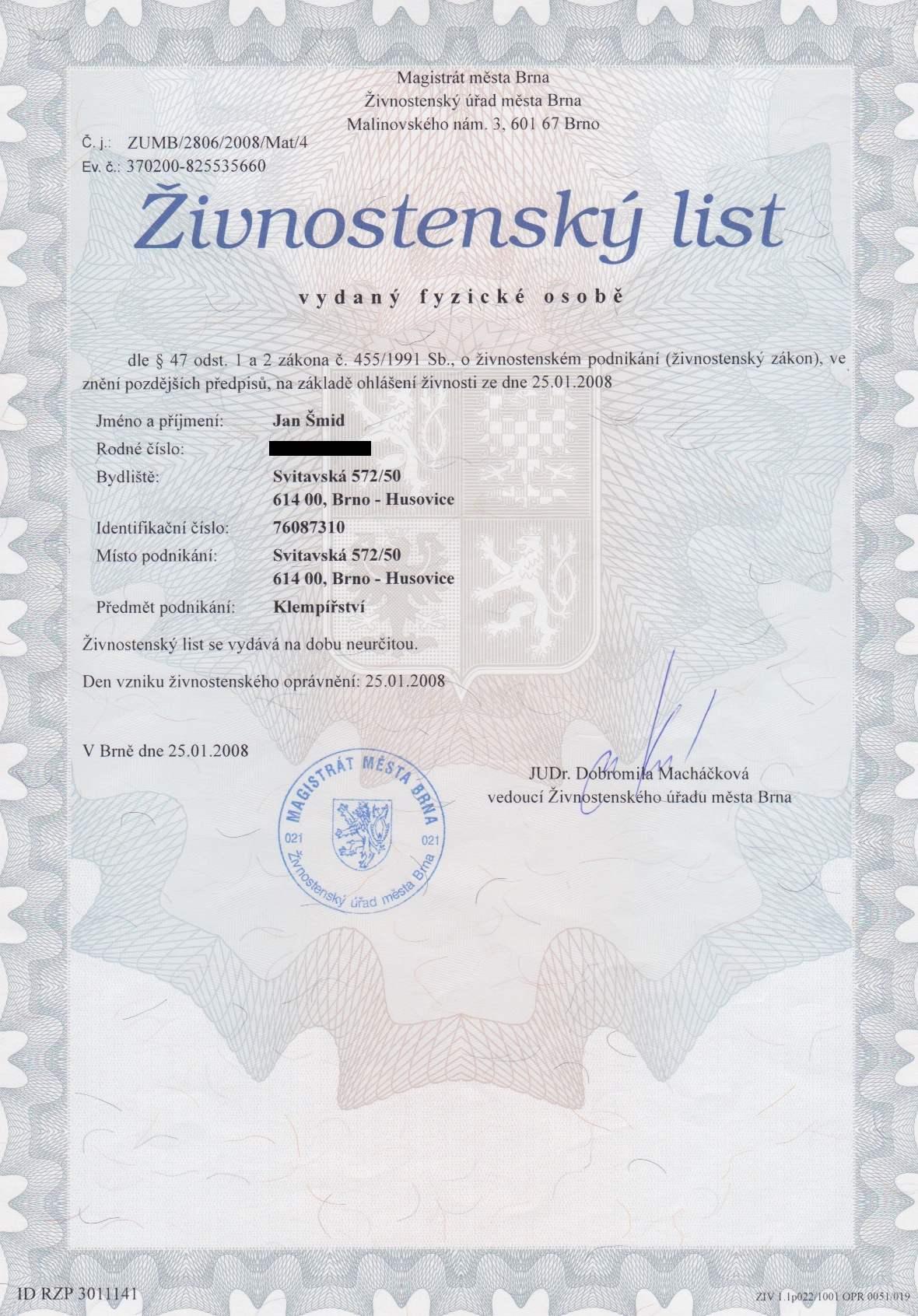 Živnostenský list klempiřina.cz